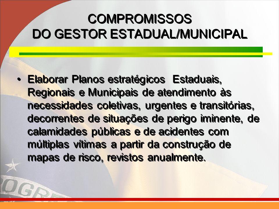COMPROMISSOS DO GESTOR ESTADUAL/MUNICIPAL