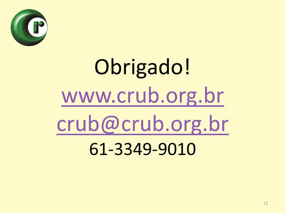 Obrigado! www.crub.org.br crub@crub.org.br 61-3349-9010