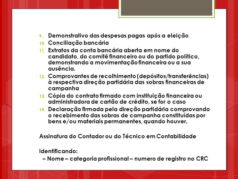 – Nome – categoria profissional – numero de registro no CRC