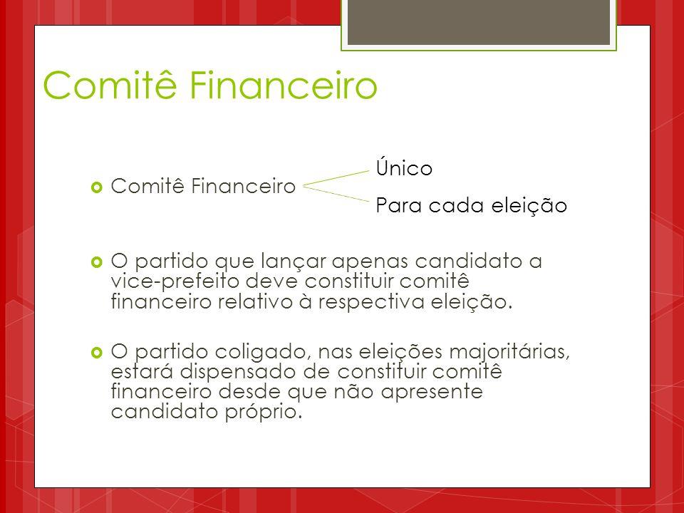 Comitê Financeiro Único Para cada eleição Comitê Financeiro