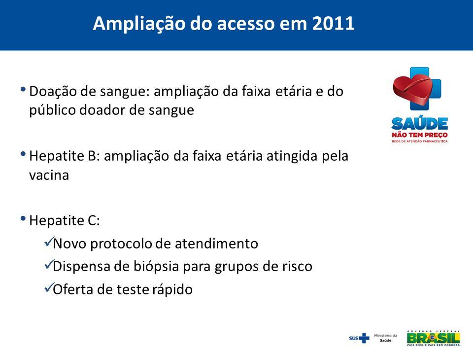 Ampliação do acesso em 2011Doação de sangue: ampliação da faixa etária e do público doador de sangue.