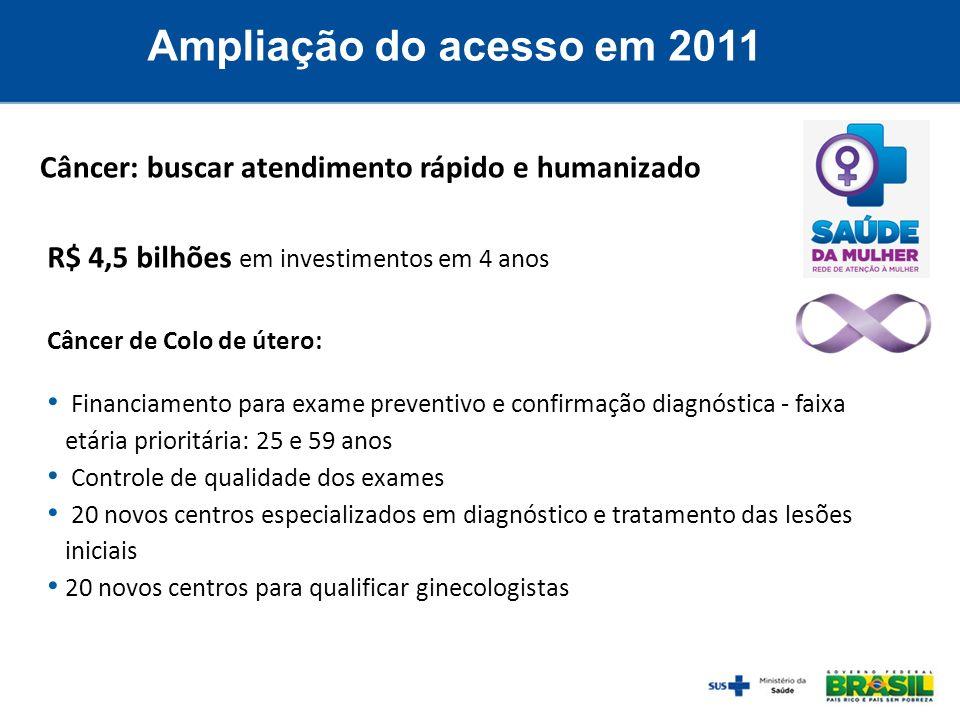 Ampliação do acesso em 2011Câncer: buscar atendimento rápido e humanizado. R$ 4,5 bilhões em investimentos em 4 anos.