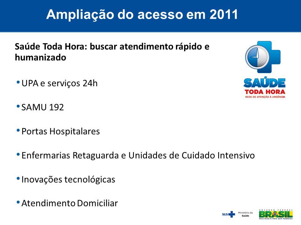Ampliação do acesso em 2011Saúde Toda Hora: buscar atendimento rápido e humanizado. UPA e serviços 24h.
