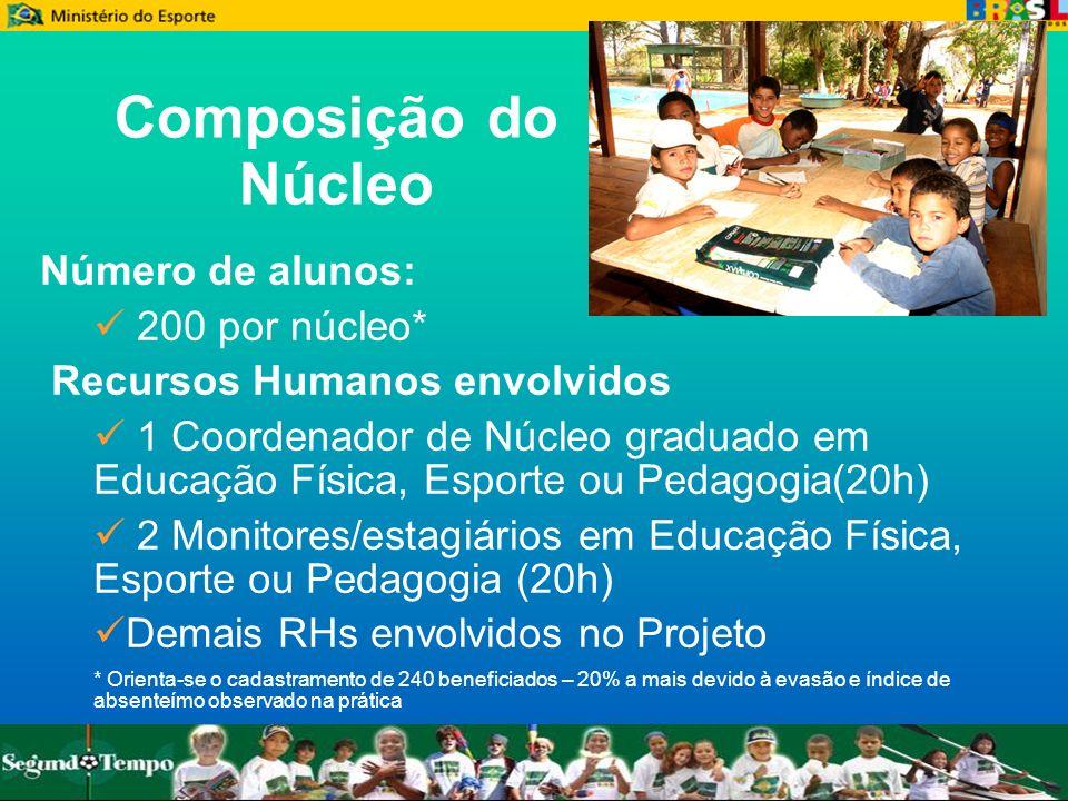 Composição do Núcleo Número de alunos: 200 por núcleo*