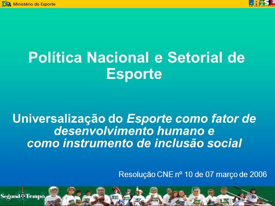 Política Nacional e Setorial de Esporte Universalização do Esporte como fator de desenvolvimento humano e como instrumento de inclusão social