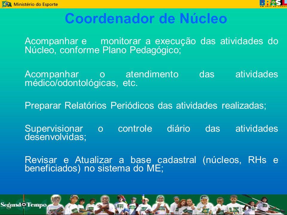 Coordenador de NúcleoAcompanhar e monitorar a execução das atividades do Núcleo, conforme Plano Pedagógico;