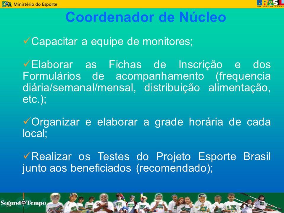 Coordenador de Núcleo Capacitar a equipe de monitores;