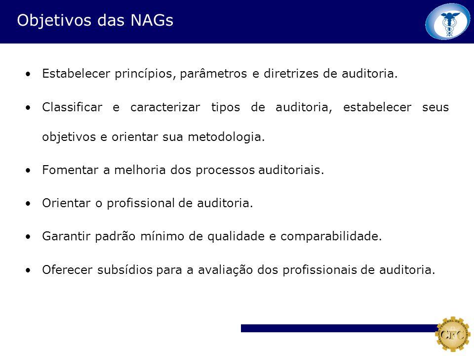 Objetivos das NAGs Estabelecer princípios, parâmetros e diretrizes de auditoria.
