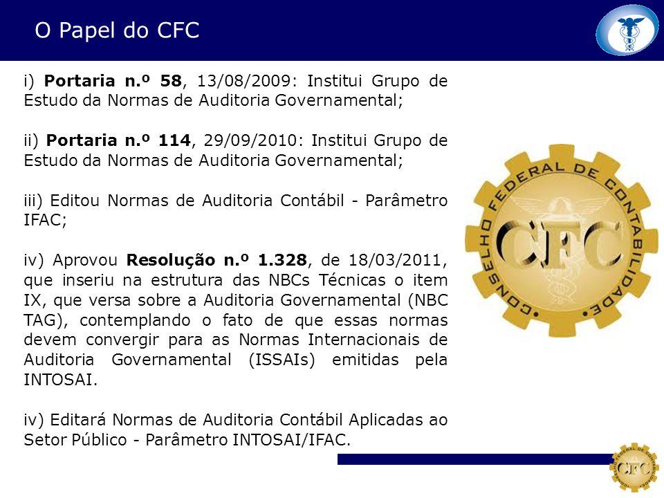 O Papel do CFC i) Portaria n.º 58, 13/08/2009: Institui Grupo de Estudo da Normas de Auditoria Governamental;