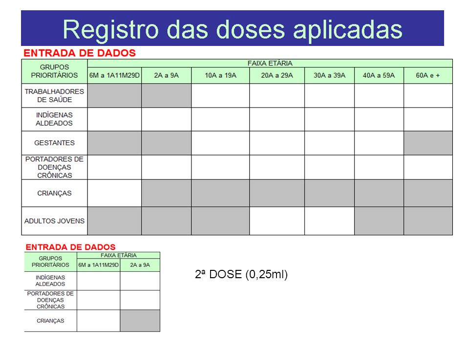 2ª DOSE (0,25ml)
