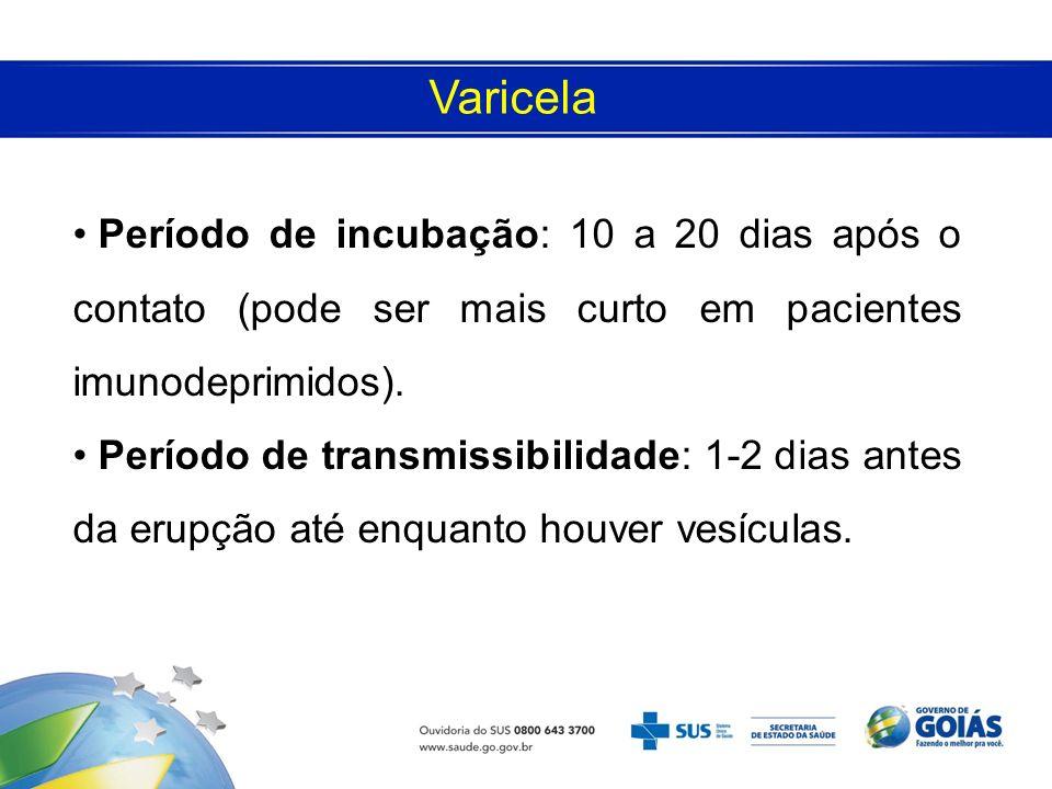 Varicela Período de incubação: 10 a 20 dias após o contato (pode ser mais curto em pacientes imunodeprimidos).