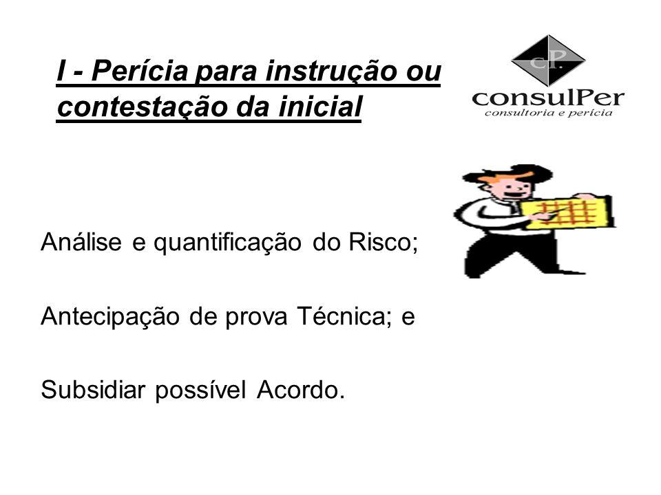 I - Perícia para instrução ou contestação da inicial