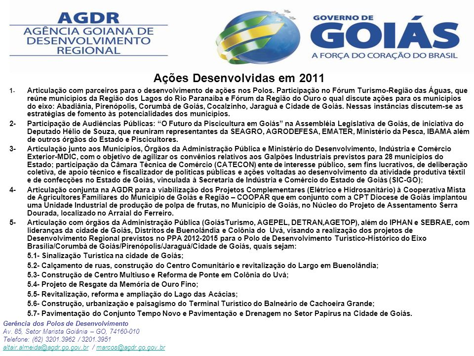 Ações Desenvolvidas em 2011