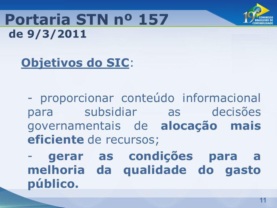 Portaria STN nº 157 de 9/3/2011.