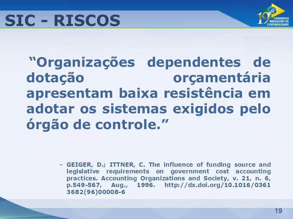 SIC - RISCOS Organizações dependentes de dotação orçamentária apresentam baixa resistência em adotar os sistemas exigidos pelo órgão de controle.