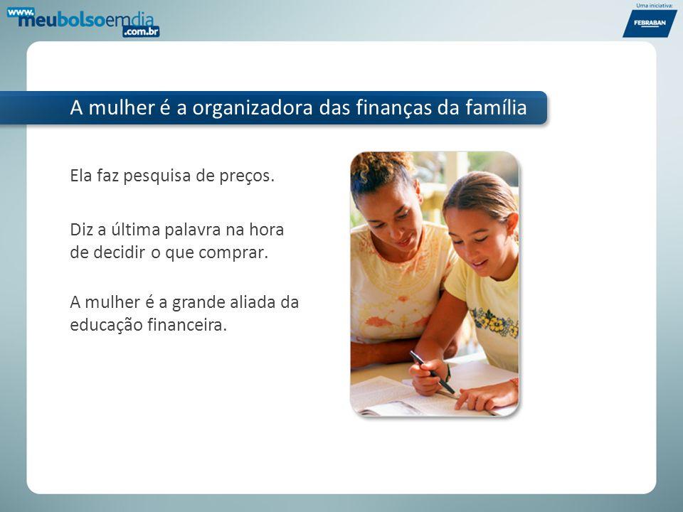 A mulher é a organizadora das finanças da família