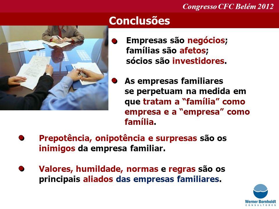Conclusões Empresas são negócios; famílias são afetos;