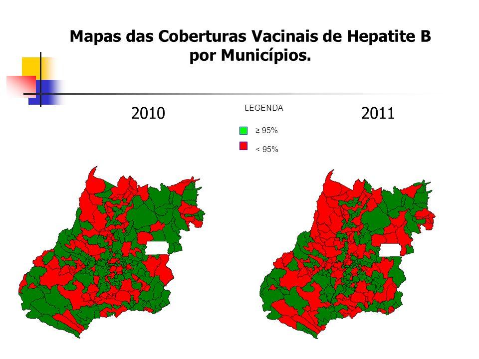 Mapas das Coberturas Vacinais de Hepatite B por Municípios.