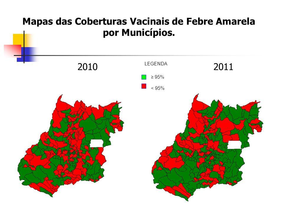 Mapas das Coberturas Vacinais de Febre Amarela por Municípios.