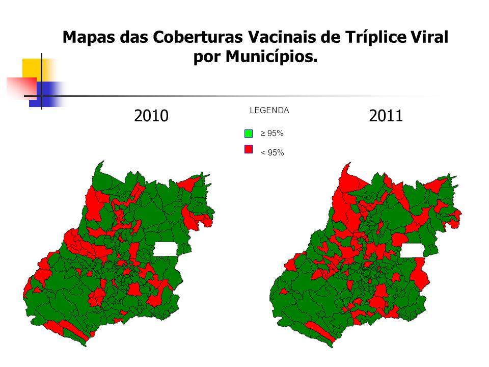 Mapas das Coberturas Vacinais de Tríplice Viral por Municípios.