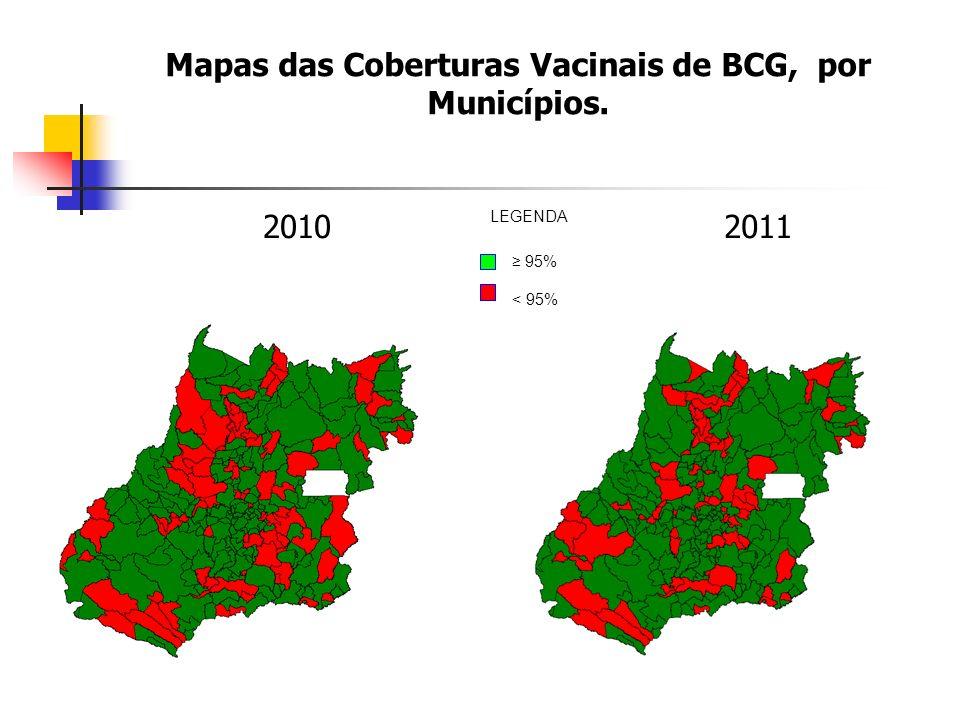 Mapas das Coberturas Vacinais de BCG, por Municípios.