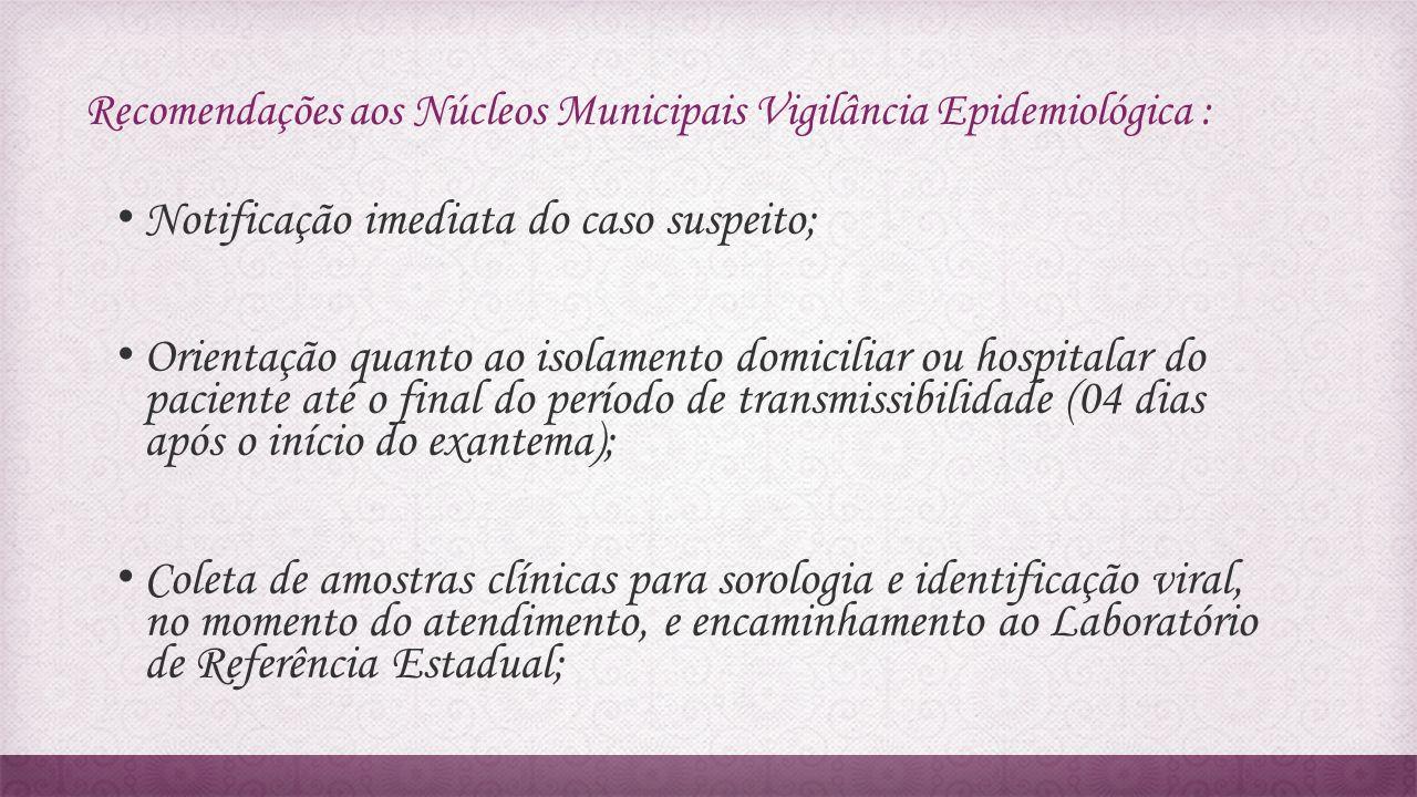 Recomendações aos Núcleos Municipais Vigilância Epidemiológica :