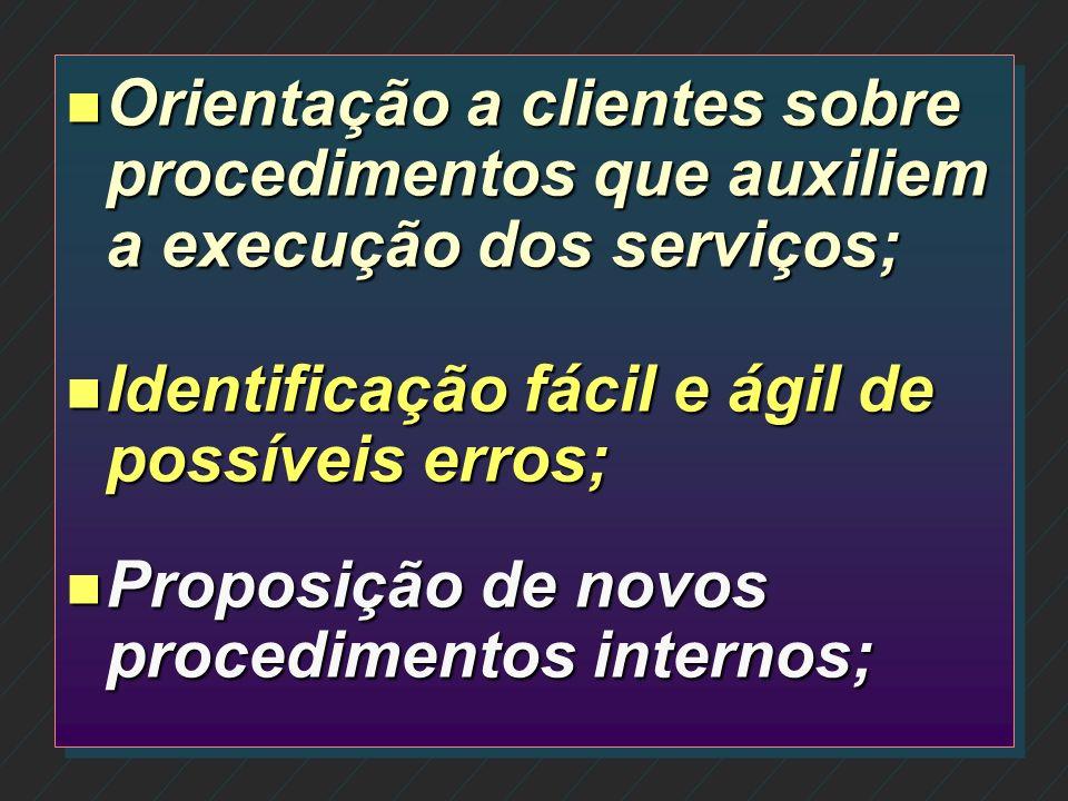 Orientação a clientes sobre procedimentos que auxiliem a execução dos serviços;