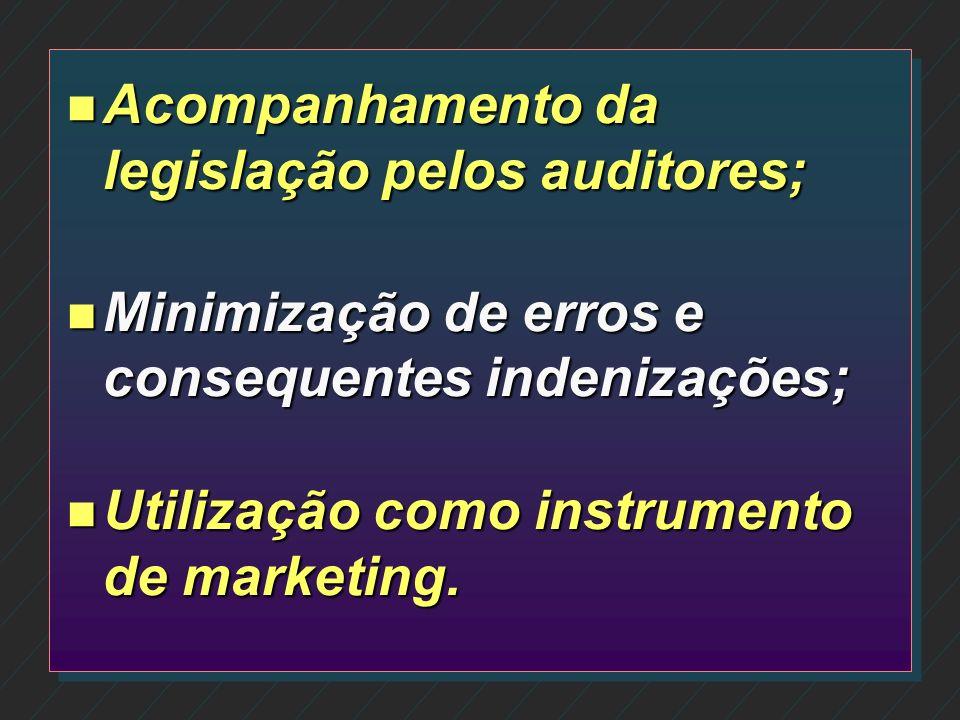 Acompanhamento da legislação pelos auditores;