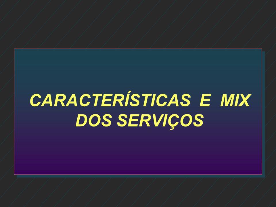 CARACTERÍSTICAS E MIX DOS SERVIÇOS