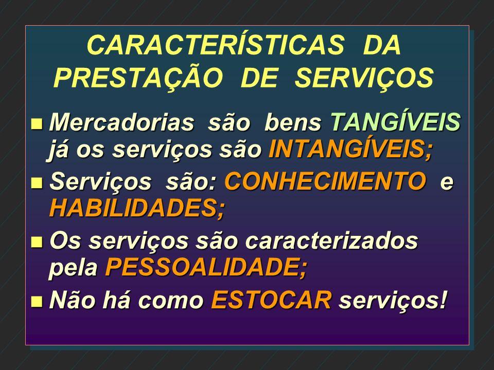 CARACTERÍSTICAS DA PRESTAÇÃO DE SERVIÇOS