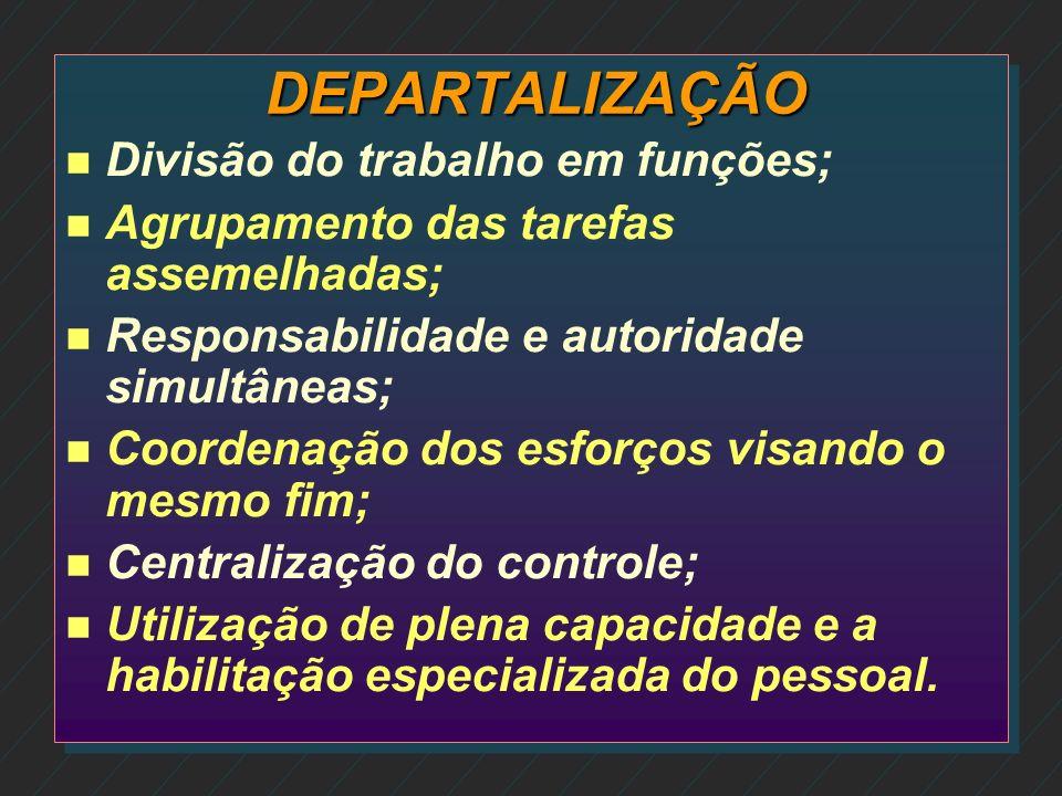 DEPARTALIZAÇÃO Divisão do trabalho em funções;