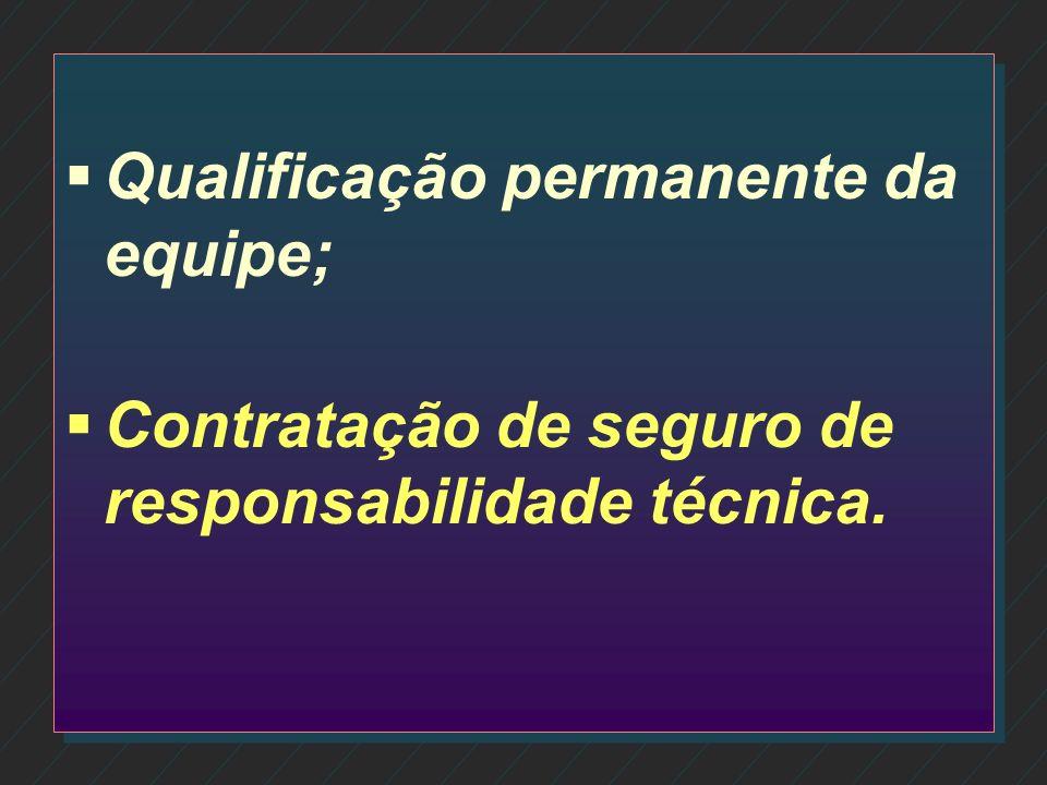 Qualificação permanente da equipe;