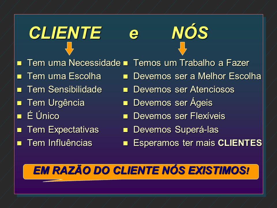 EM RAZÃO DO CLIENTE NÓS EXISTIMOS!