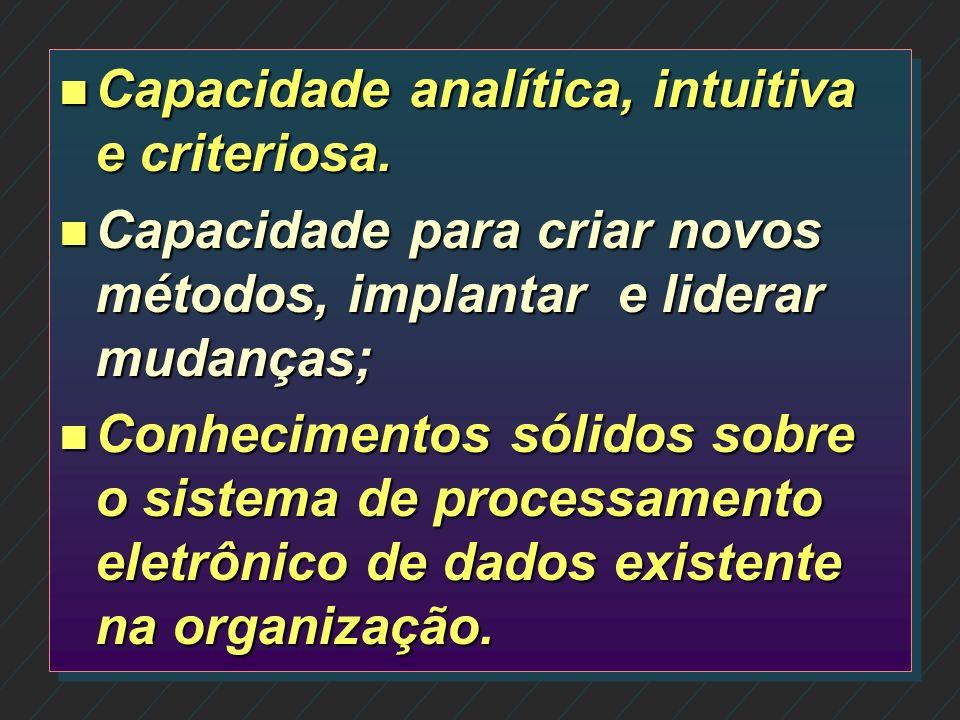 Capacidade analítica, intuitiva e criteriosa.