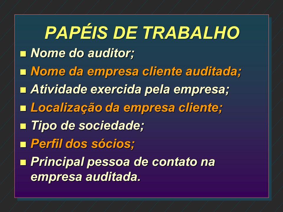PAPÉIS DE TRABALHO Nome do auditor; Nome da empresa cliente auditada;