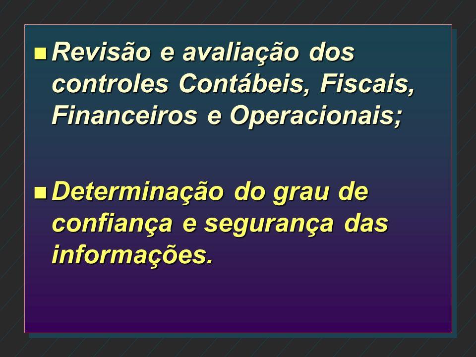 Revisão e avaliação dos controles Contábeis, Fiscais, Financeiros e Operacionais;