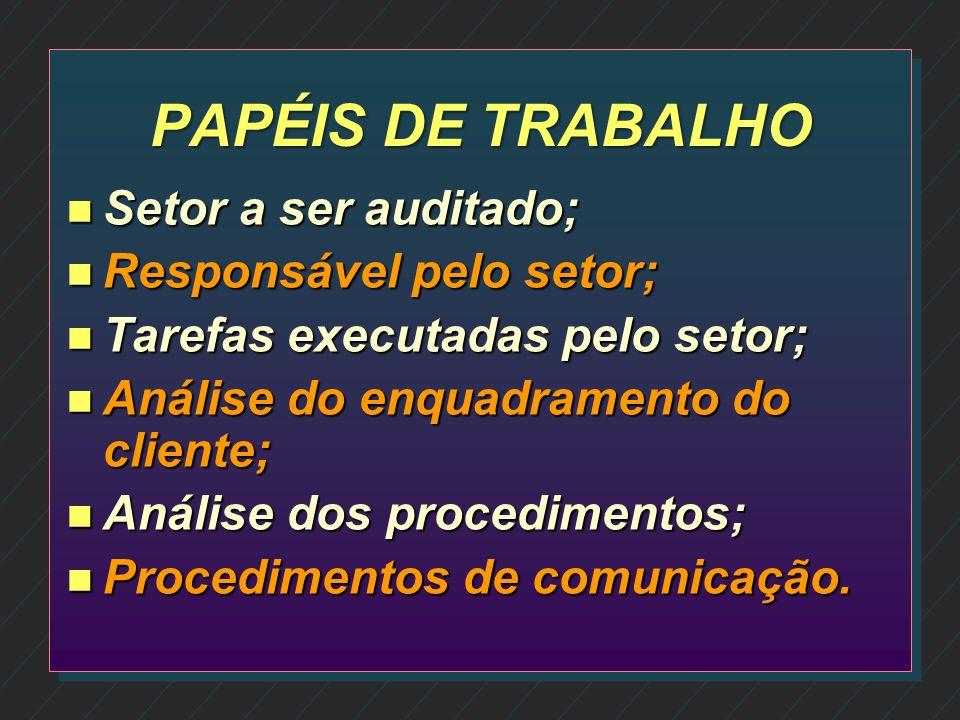 PAPÉIS DE TRABALHO Setor a ser auditado; Responsável pelo setor;
