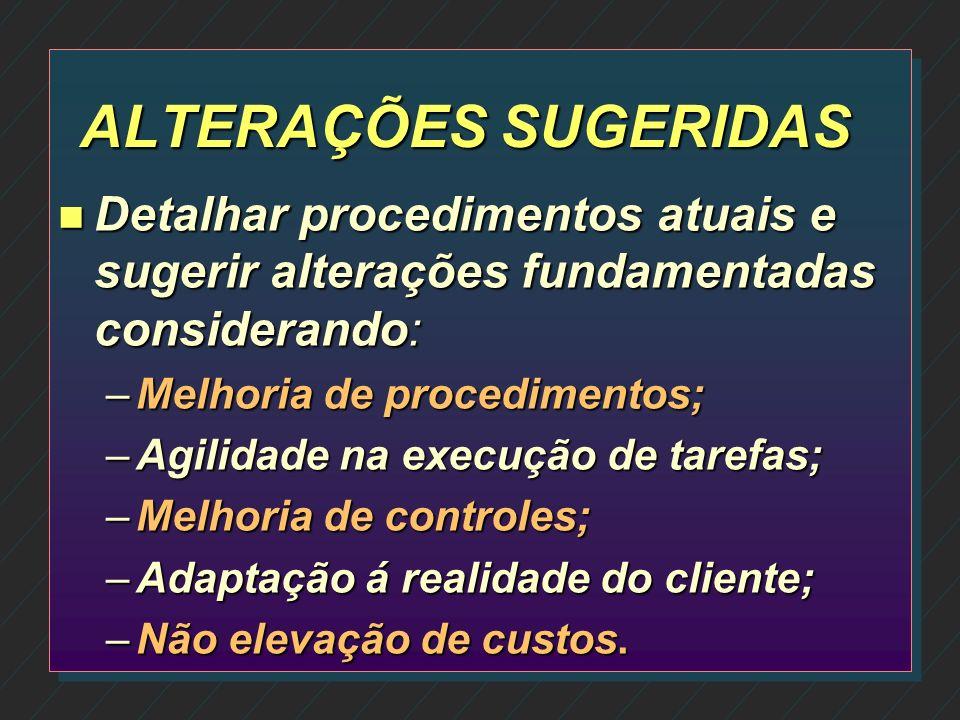 ALTERAÇÕES SUGERIDAS Detalhar procedimentos atuais e sugerir alterações fundamentadas considerando: