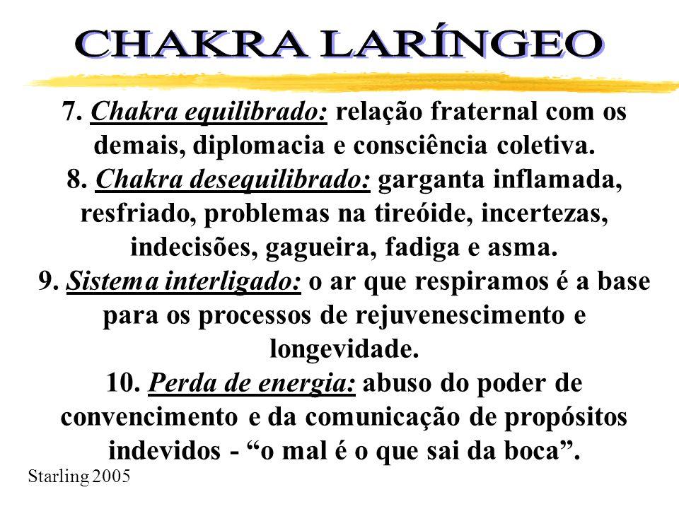 CHAKRA LARÍNGEO 7. Chakra equilibrado: relação fraternal com os demais, diplomacia e consciência coletiva.