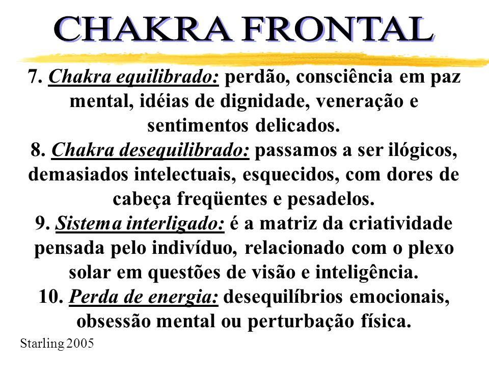 CHAKRA FRONTAL 7. Chakra equilibrado: perdão, consciência em paz mental, idéias de dignidade, veneração e sentimentos delicados.