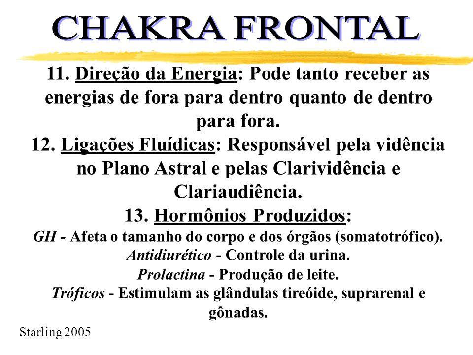 CHAKRA FRONTAL 11. Direção da Energia: Pode tanto receber as energias de fora para dentro quanto de dentro para fora.
