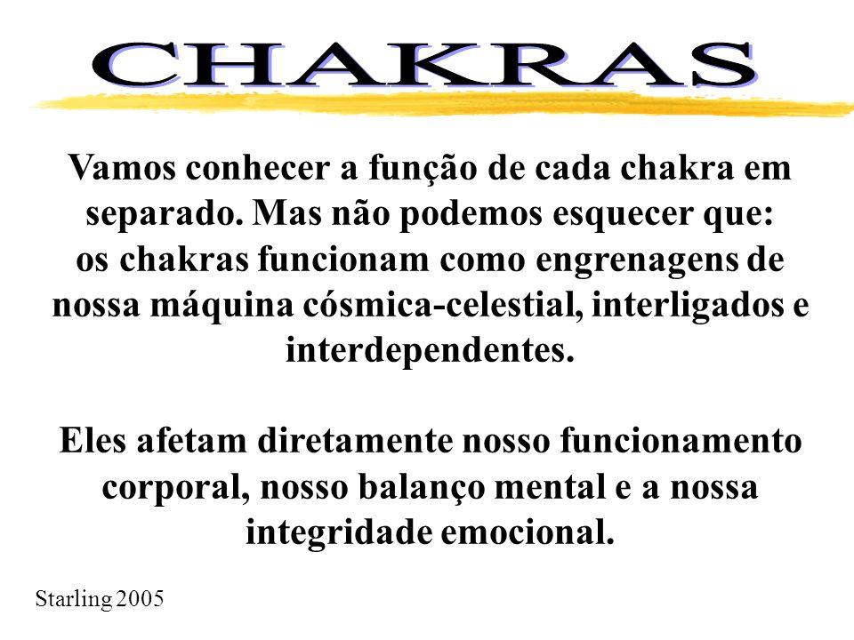 CHAKRAS Vamos conhecer a função de cada chakra em separado. Mas não podemos esquecer que: