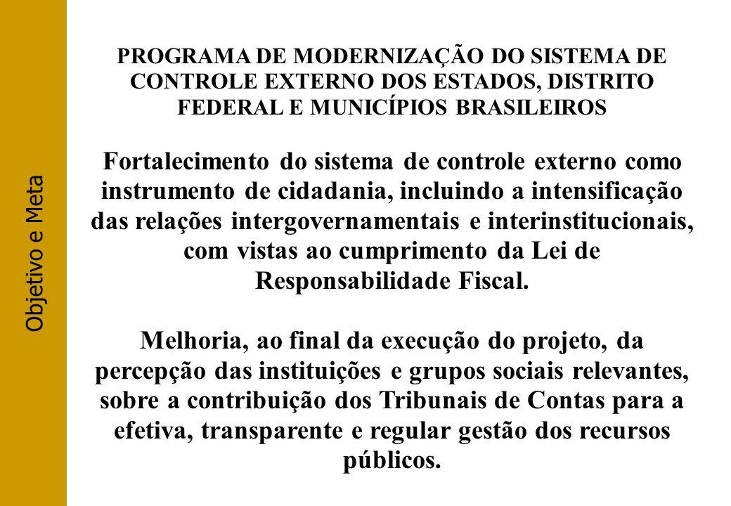 Objetivo e Meta PROGRAMA DE MODERNIZAÇÃO DO SISTEMA DE CONTROLE EXTERNO DOS ESTADOS, DISTRITO FEDERAL E MUNICÍPIOS BRASILEIROS.
