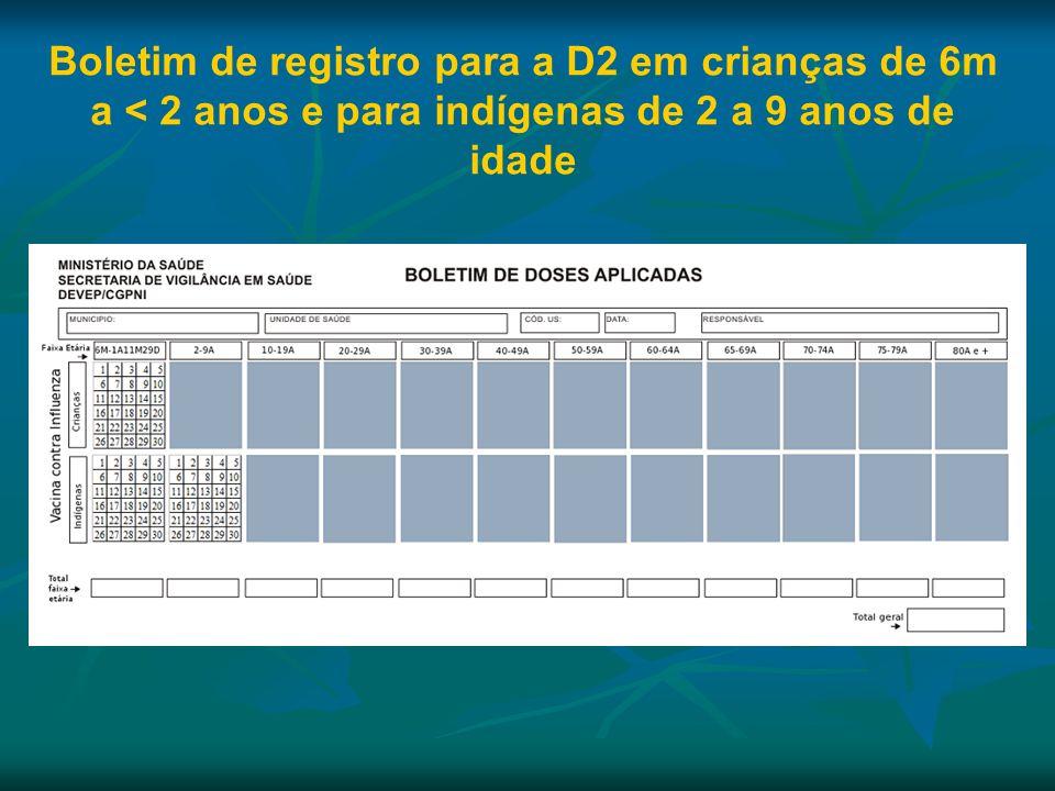 Boletim de registro para a D2 em crianças de 6m a < 2 anos e para indígenas de 2 a 9 anos de idade