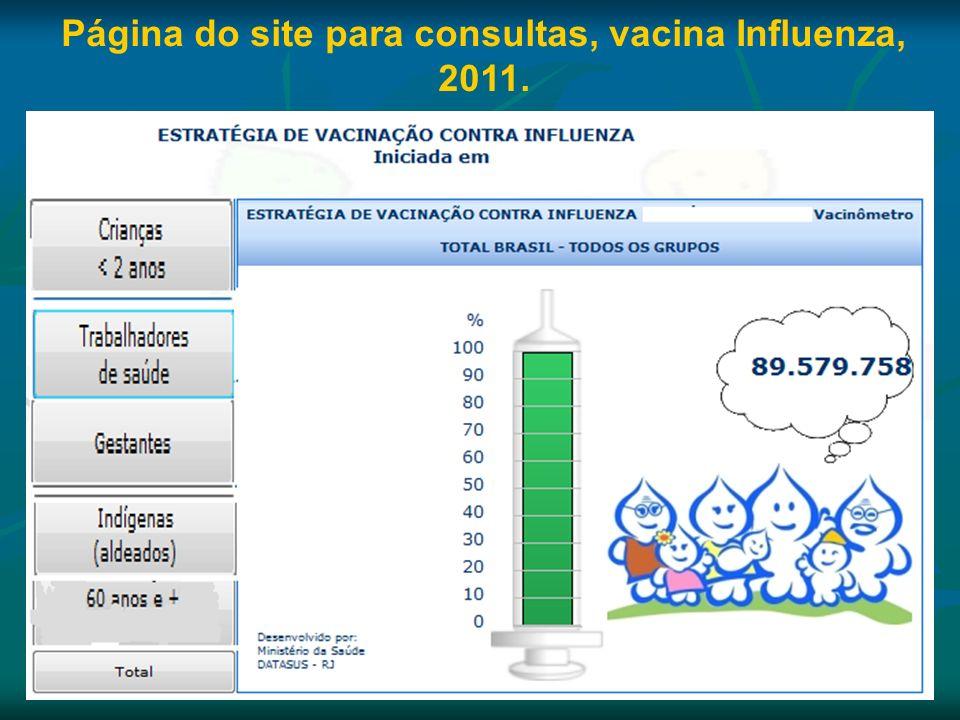 Página do site para consultas, vacina Influenza, 2011.