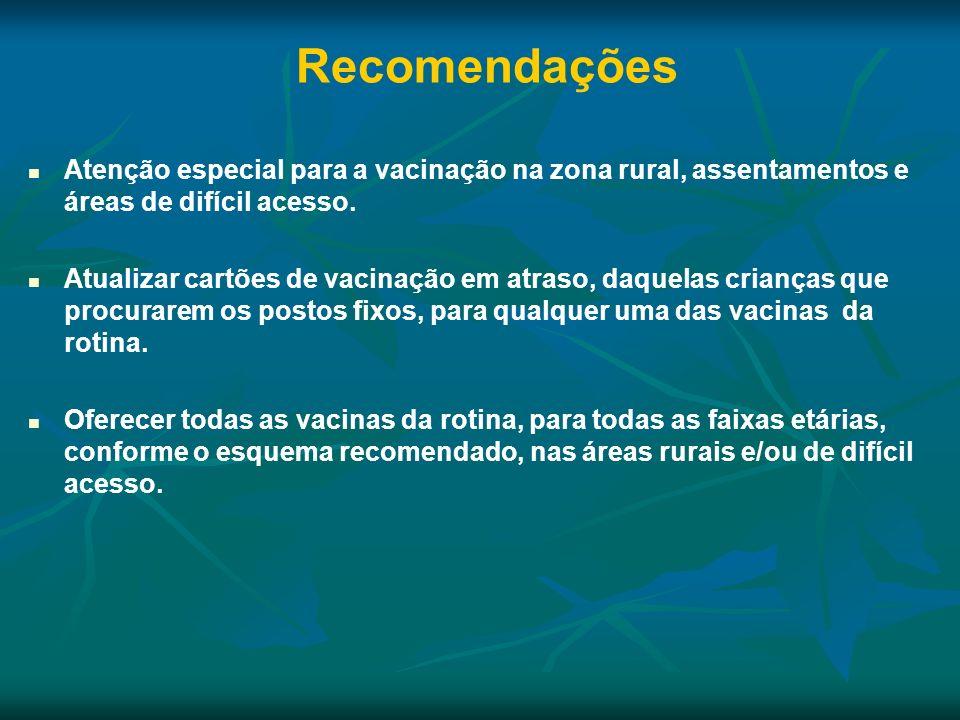 Recomendações Atenção especial para a vacinação na zona rural, assentamentos e áreas de difícil acesso.