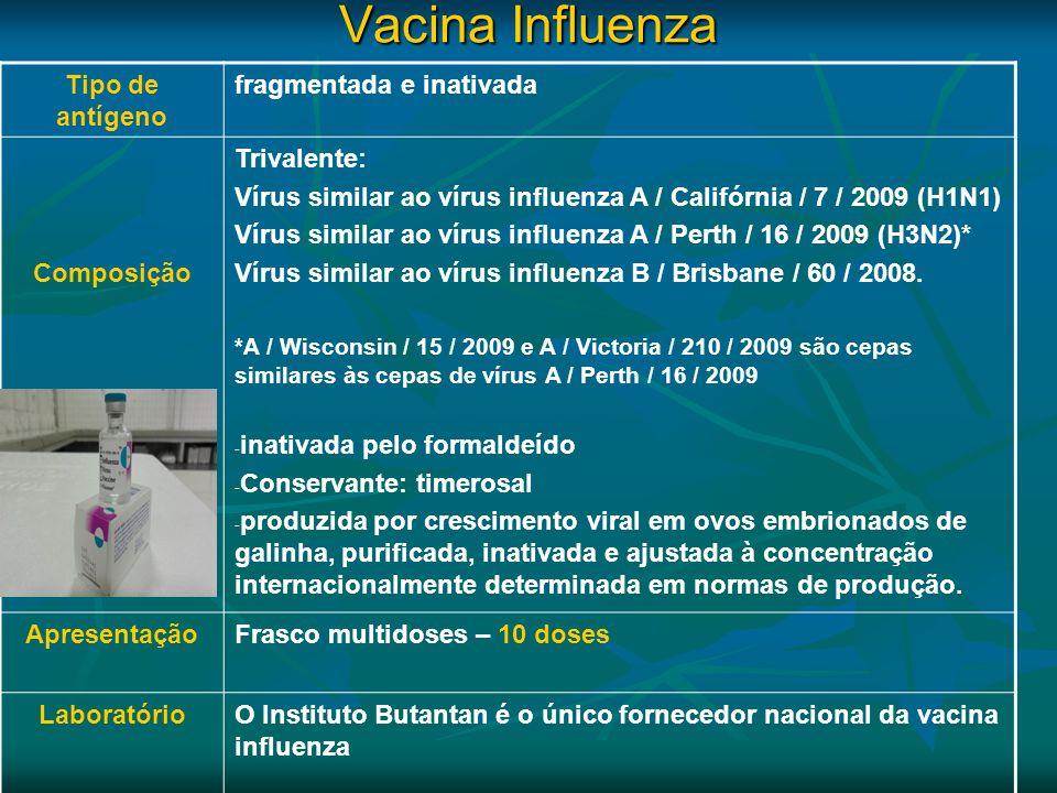 Vacina Influenza Tipo de antígeno fragmentada e inativada Composição