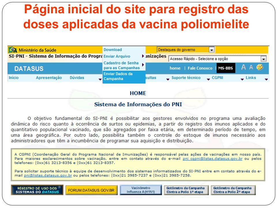 Página inicial do site para registro das doses aplicadas da vacina poliomielite