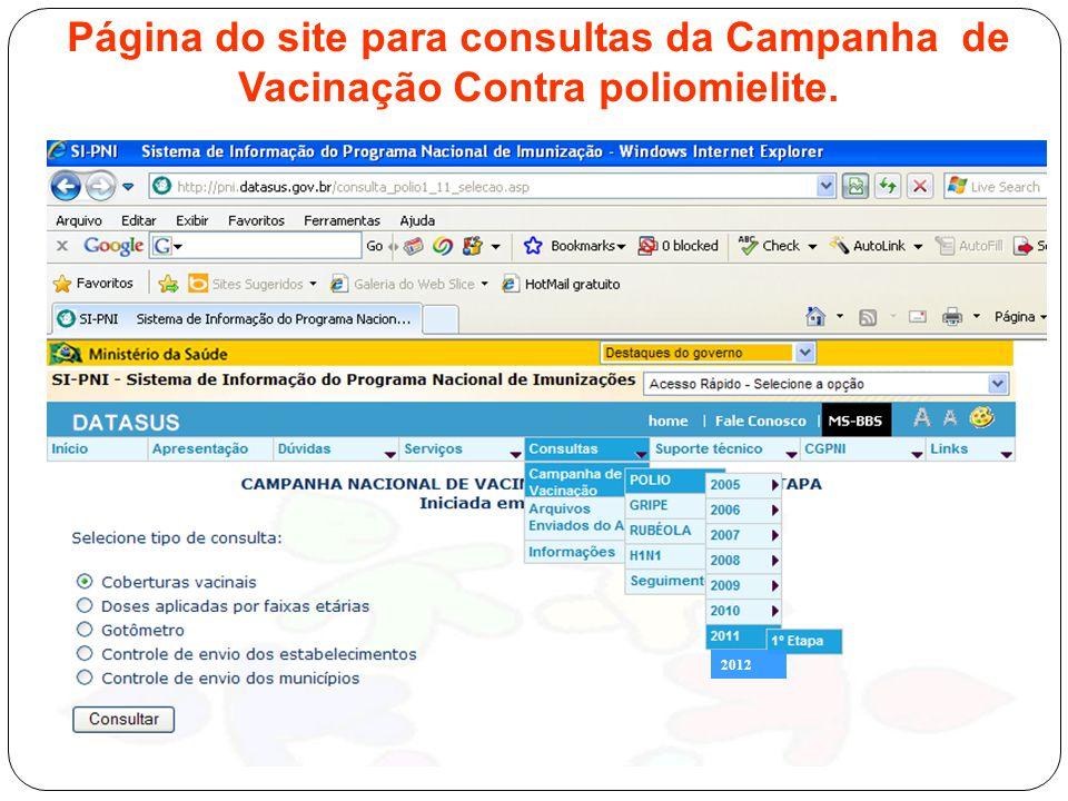 Página do site para consultas da Campanha de Vacinação Contra poliomielite.