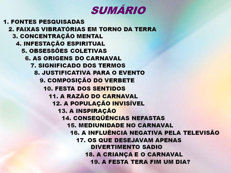 SUMÁRIO 1. FONTES PESQUISADAS 2. FAIXAS VIBRATÓRIAS EM TORNO DA TERRA
